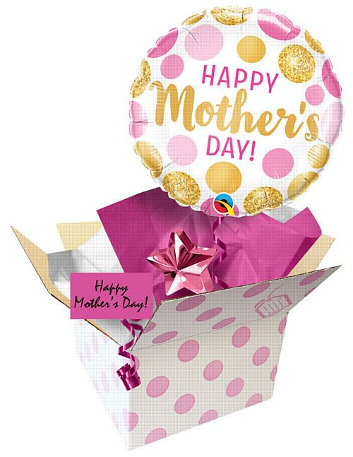 Send A Balloon Mother's Day Pink and Gold Dots - 18""
