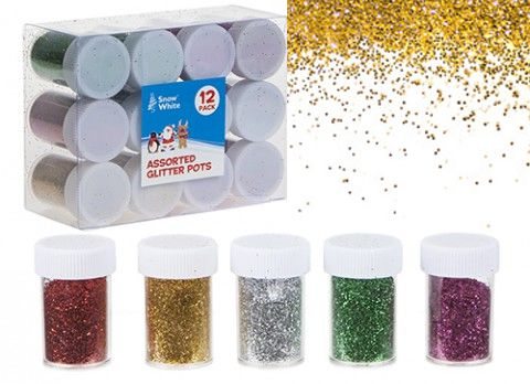 Assorted Colour Glitter Pots- Pack of 12