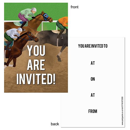 Horse Racing Themed Invites - Pack of 8