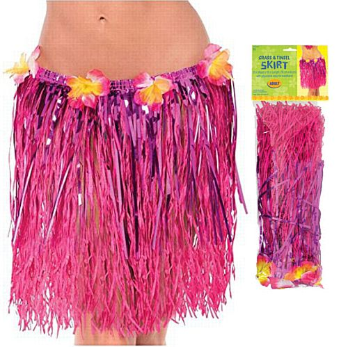 Hawaiian Adult Grass & Tinsel Hula Skirt