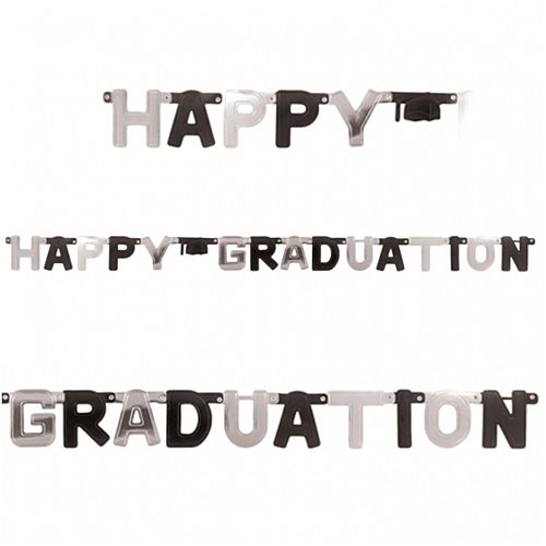Black & Silver Happy Graduation Foil Letter Banner - 1.8m
