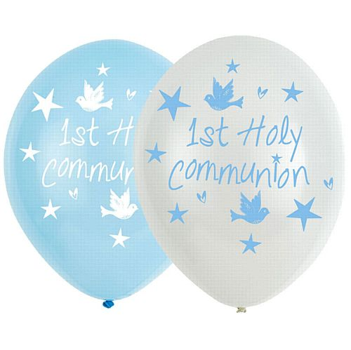 "Communion Church Blue Latex Balloons - 11"" - Pack of 6"
