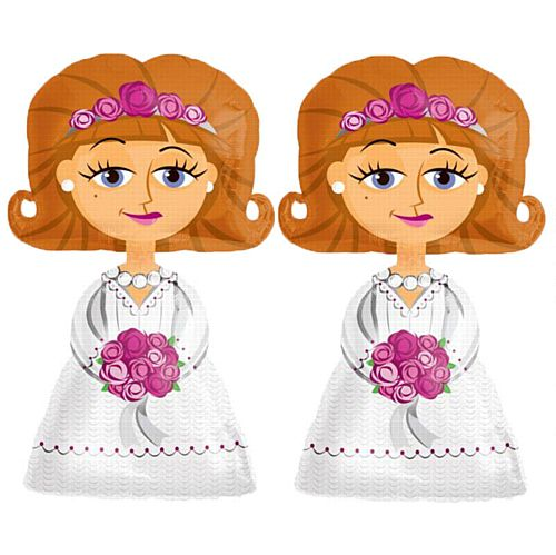 Two Bride Airwalker Foil Balloons - 50""