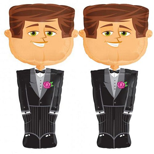 Two Groom Airwalker Foil Balloons - 50""