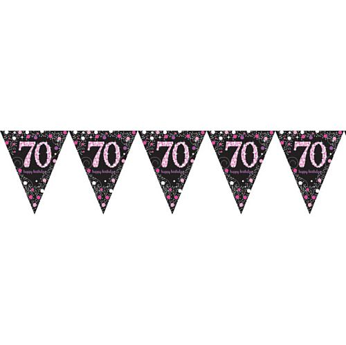 Pink Celebration 70th Plastic Pennant Bunting - 4m