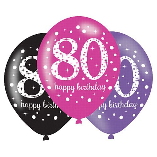"Pink Celebration 80th Birthday Latex Balloons - 11"" - Pack of 6"