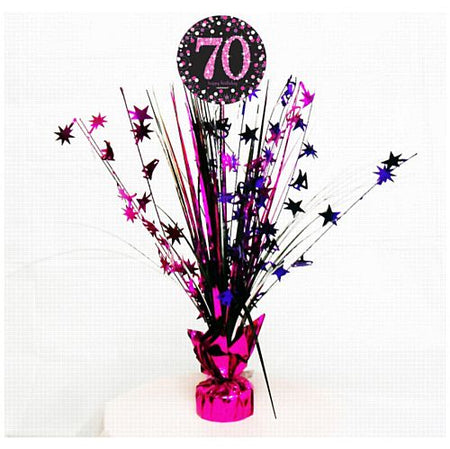 Click to view product details and reviews for Pink Celebration 70th Spray Centrepiece 45cm.