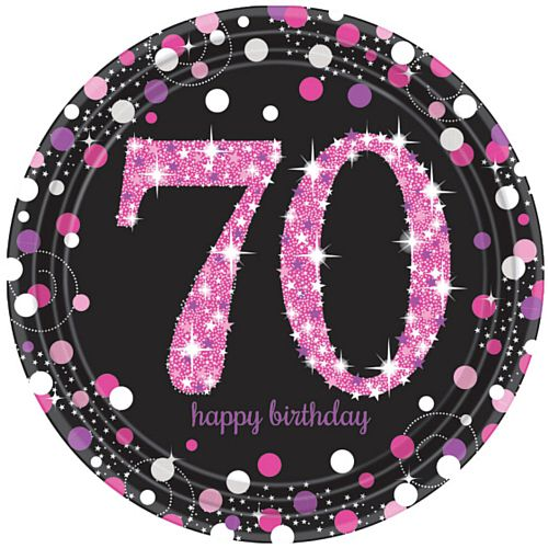 "Pink Celebration ""70th Birthday"" Paper Plates - 9"" - Pack of 8"