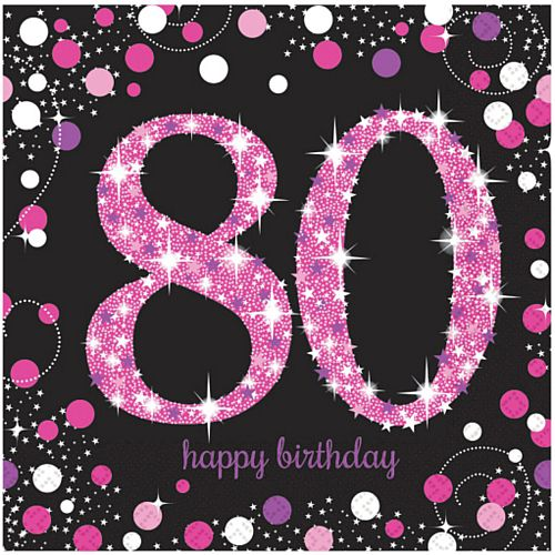 Pink Celebration 80th Luncheon Napkins - 33cm - Pack of 16