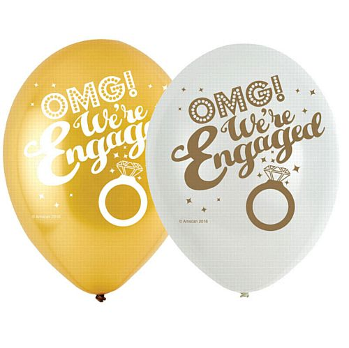 "OMG! We're Engaged 4 Sided Print Latex Balloons - 11"" - Pack of 6"