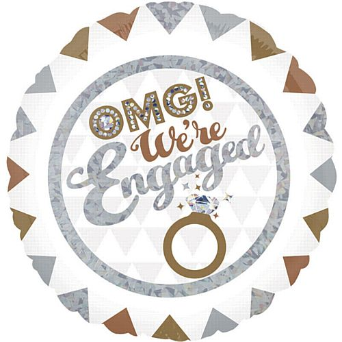 OMG! We're Engaged Holographic Foil Balloons - 18""