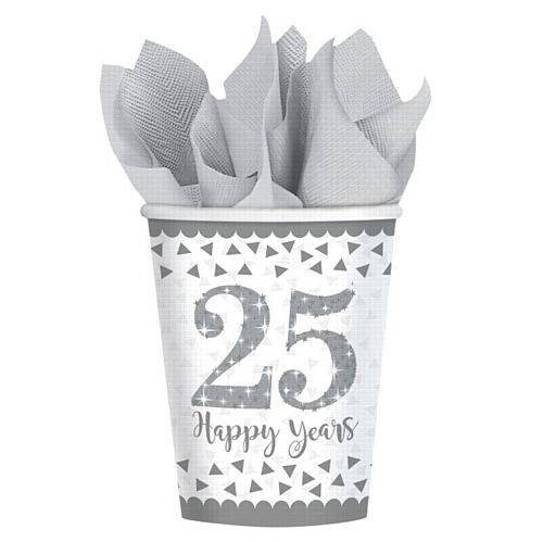 Sparkling Silver Anniversary Paper Cups - 266ml - Pack of 8