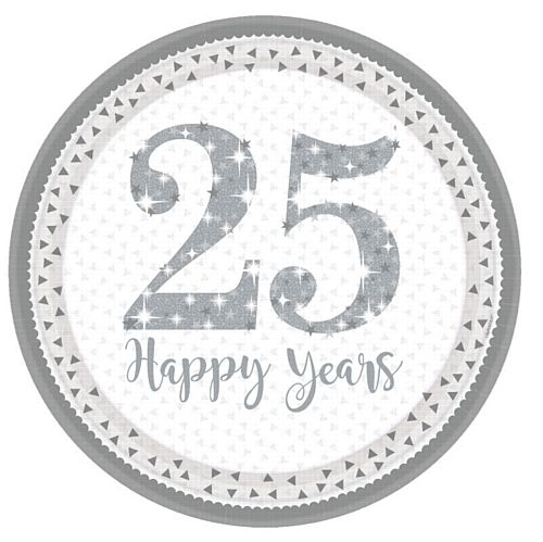 Sparkling Silver Anniversary Prismatic Paper Plates - 23cm - Pack of 8