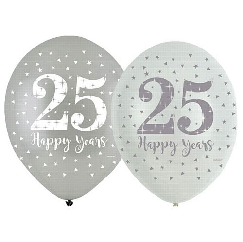 "Sparkling Silver Anniversary 4 Sided Latex Balloons - 11"" - Pack of 6"
