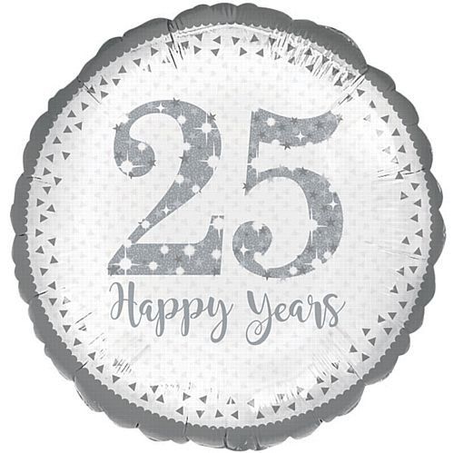 Sparkling 25th Silver Anniversary Foil Balloons - 18""