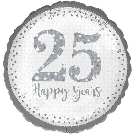 Sparkling 25th Silver Anniversary Foil Balloons - 18