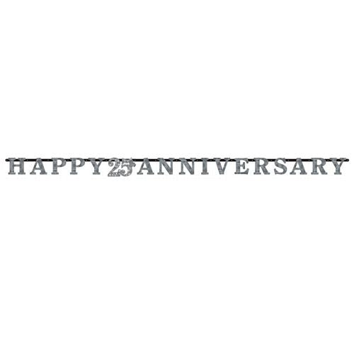 Sparkling Silver Anniversary Prismatic Letter Banner - 3m