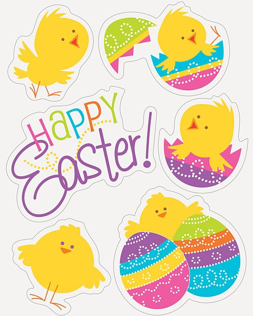 Easter Chicks Window Sticker Clings - Sheet of 6