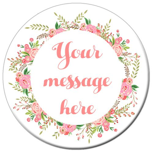 Personalised Badge 58mm- Boho Flowers