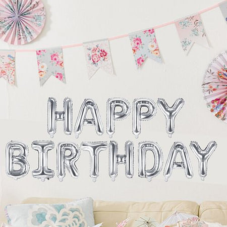 Silver Happy Birthday Foil Balloon Bunting - 3.4m