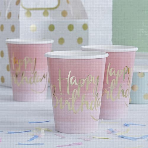Gold Foiled Pink Ombre Happy Birthday Paper Cups - 9oz - Pack of 8