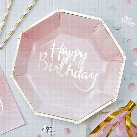 Gold Foiled Pink Ombre Happy Birthday Paper Plates - 25cm - Pack of 8