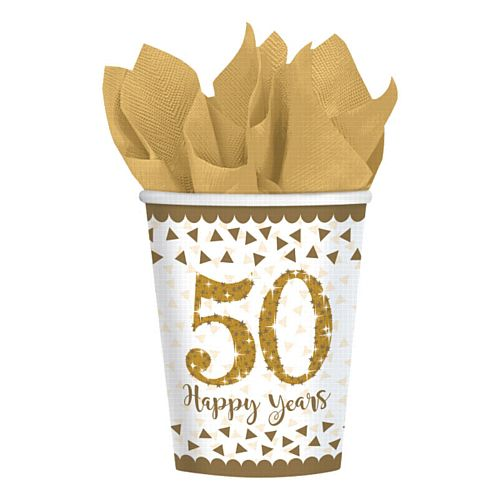 Sparkling Golden Anniversary Paper Cups - 266ml - Pack of 8