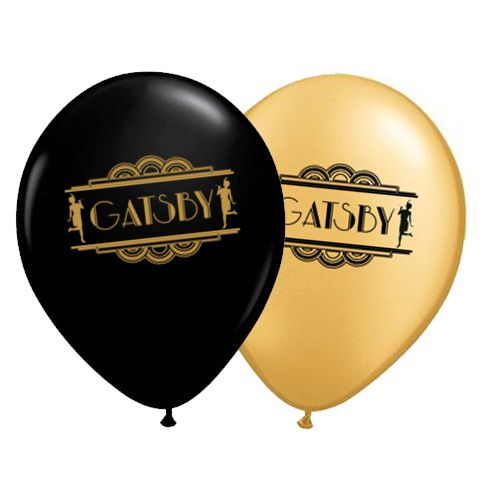 "1920's Gatsby Black and Gold 10"" Balloons- Pack Of 10"