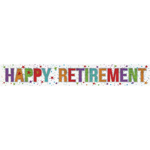 Happy Retirement Holographic Foil Banner - 2.7m