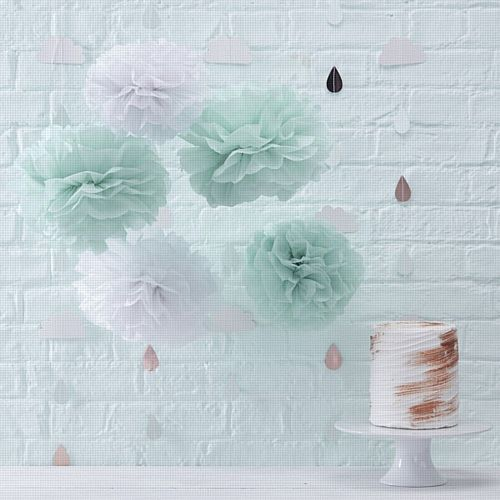 Pastel Mint & White Tissue Paper Pom Poms- Pack of 5