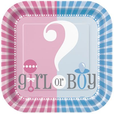 "Gender Reveal Square Paper Plates 9"" Pack of 8"