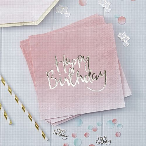 Gold Foiled Pink Ombre Happy Birthday Paper Napkins - 33cm - Pack of 20