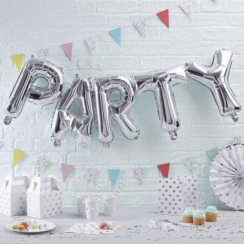 "Silver Party Balloon Bunting - 12"" - Pack of 5 Letters"