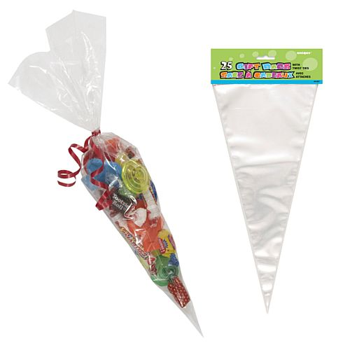 Large Clear Cone Cello Bags - Pack of 25
