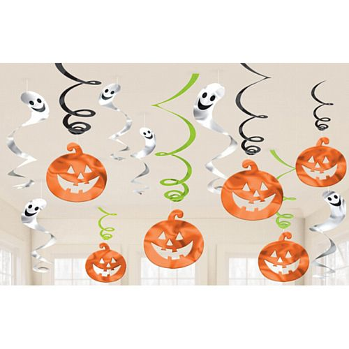 Pumpkins and Ghosts Swirls Hanging Decorations - Pack of 12