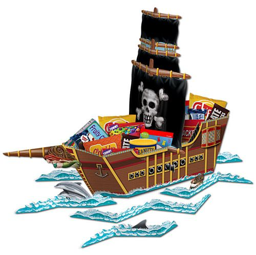 Giant 3D Pirate Ship Snack Tray Centrepiece - 65cm