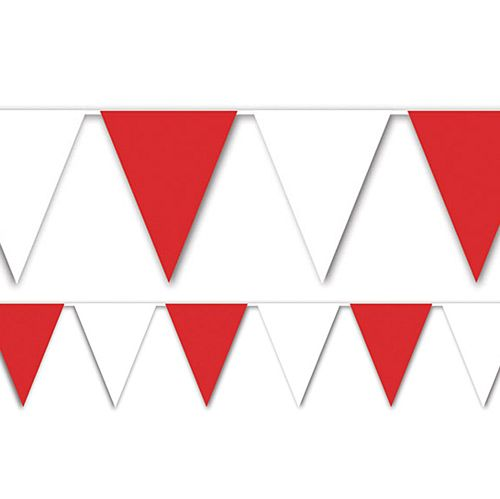 Red and White All Weather Bunting - 9.1m - 15 Flags