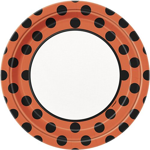 Orange and Black Dots Plates - 23cm - Pack of 8