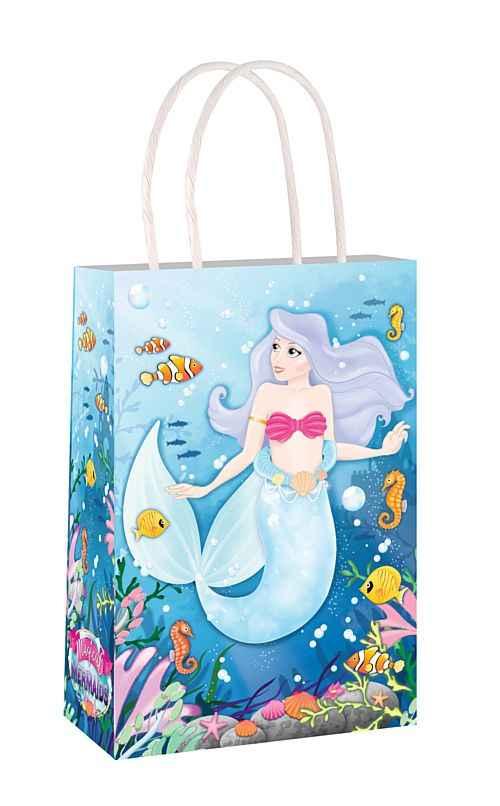 Mermaid Paper Party Bag With Handles - 21cm - Each