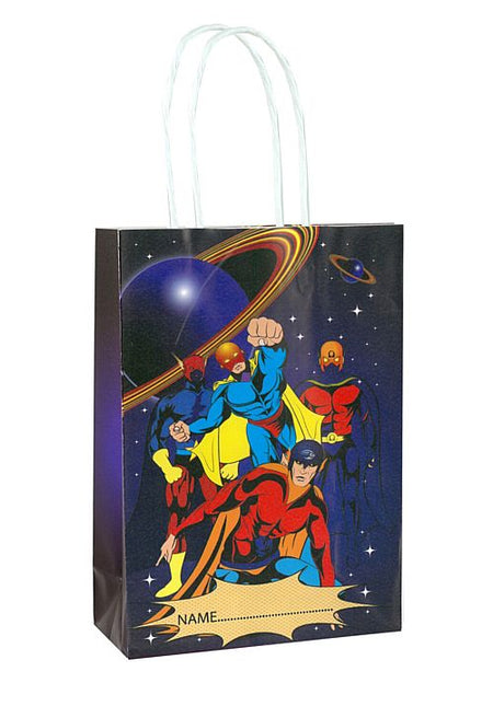 Superhero Paper Party Bag With Handles - 21cm - Each