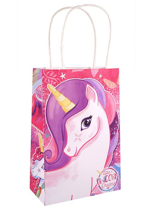 Unicorn Paper Party Bag With Handles - 21cm - Each