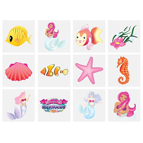 Mini Mermaid Tattoos - Assorted Designs - 4cm - Pack of 12