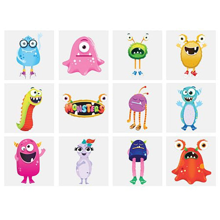 Mini Monster Tattoos - Assorted Designs - 4cm - Pack of 12