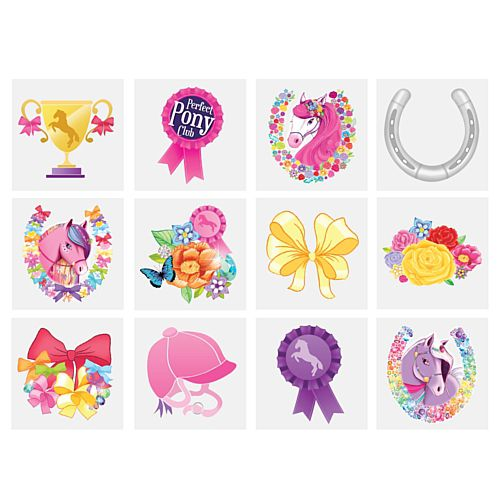 Mini Ponies Tattoos - Assorted Designs - 4cm - Pack of 12
