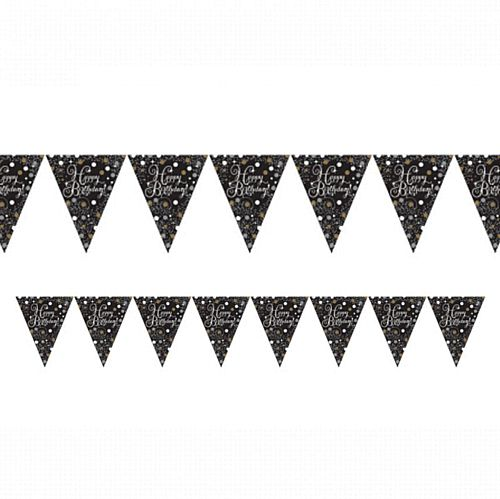 "Gold Celebration ""Happy Birthday"" Prismatic Pennant Bunting - 4m"
