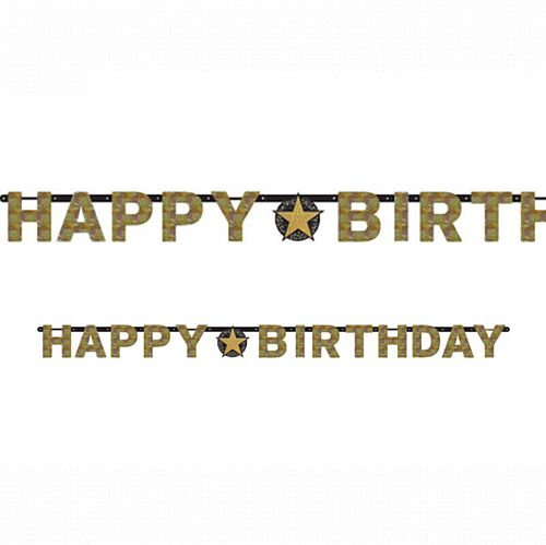 "Gold Celebration ""Happy Birthday"" Prismatic Letter Banner - 2.13m"