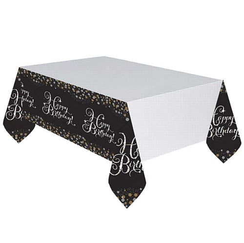 "Gold Celebration ""Happy Birthday"" Tablecloth - 2.59m"