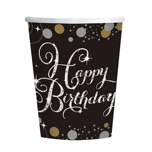 "Gold Celebration ""Happy Birthday"" Paper Cups - 266ml - Pack of 8"
