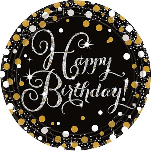 "Gold Celebration Happy Birthday 9"" Paper Plates - Pack of 8"