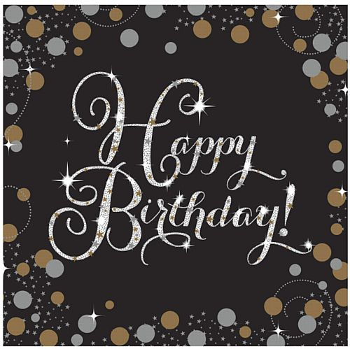 "Gold Celebration ""Happy Birthday"" Luncheon Napkins - 33cm - Pack of 16"